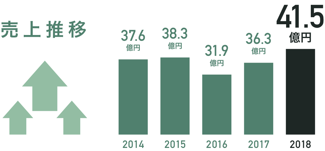売上推移 [2014:37.6億][2015:38.3億][2016:31.9億][2017:36.3億][2018:41.5億]