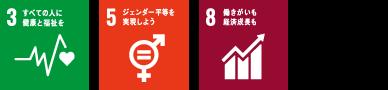 SDGzのアイコン3番、5番、8番